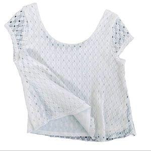 Aeropostale White Cropped Knit Blouse